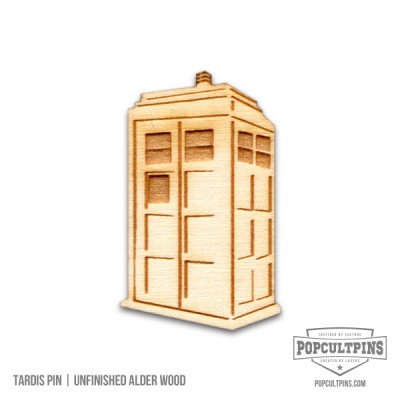 Doctor Who TARDIS inspired Alder Wood pin