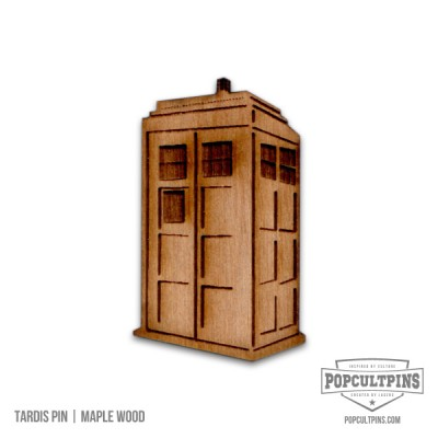 Doctor Who TARDIS inspired Maple Wood pin