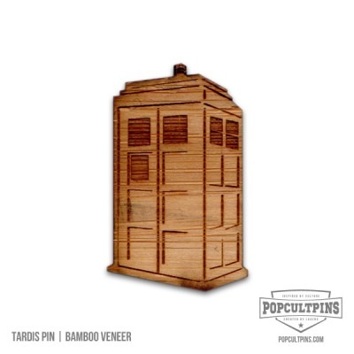 Doctor Who TARDIS inspired Bamboo Veneer pin